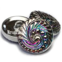 18mm Swirl Button Vitrail with Silver Accents