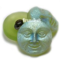 18mm Moon Face Button Green Apple with a Matte and AB Finish