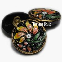 18mm Painted Flower Black with Orange and Yellow Flowers