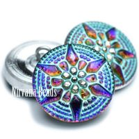 18mm Star Button Volcano, Turquoise Wash Finish