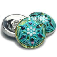 18mm Star Button Vitrail Medium with Sea Green Wash and White Accents