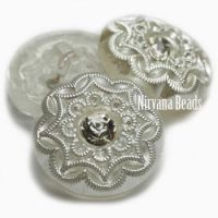 18mm Diamond Button White with Pearl and Crystal Center