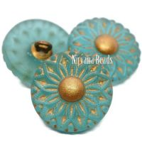 18mm Collarette Flower Button Matte Blue Green with Gold Accents