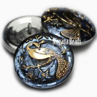 22mm Peacock Button Pale Indigo with Gold Accents