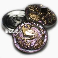 22mm Peacock Button Vitrail Light with Gold Accents