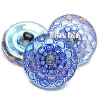 18mm Mandala Button Transparent Glass with a Blue Wash and AB Finish