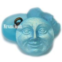 18mm Moon Face Button Medium Sky Blue with Matte and AB Finish