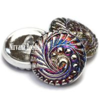 18mm Swirl Button Volcano with Silver Accents