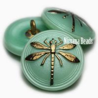 18mm Dragonfly Button Mint with a Gold Dragonfly