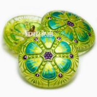 27mm Wheel Button Peridot with Multi Color Mix