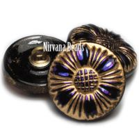 18mm Sunflower Button Indigo with and AB Finish and Gold Accents