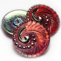 27mm Swirl Button Ladybug Red with An AB Finish and Silver Accents