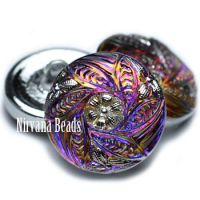 18mm Flower Leaves Button Volcano with Silver Accents