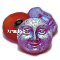 18mm Moon Face Button Ruby Red with a Matte and AB Finish