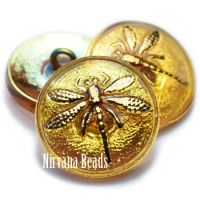 18mm Dragonfly Button Yellow with An AB Finish and a Gold Dragonfly