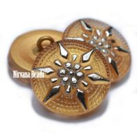 18mm Star Button Yellow Gold with a Silver Star