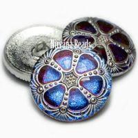 27mm Wheel-Czech Glass Buttons BE. Sapphire