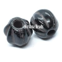 6mm Large Hole Melon Black with Brown Wash