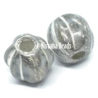 6mm Large Hole Melon Transparent Glass with Silver Finish