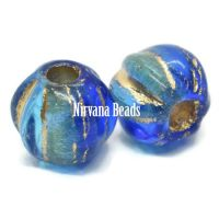 6mm Large Hole Melon Sapphire and Sky Blue with Gold Wash