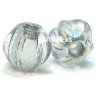 6mm Large Hole Melon Transparent Glass with Silver Wash and AB Finish