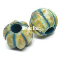 8mm Large Hole Melon Honey with Picasso Finish and Turquoise Wash