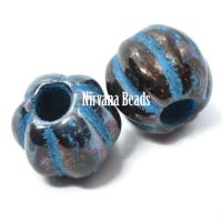 8mm Large Hole Melon Black with Bronze Finish and Turquoise Wash