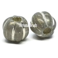 8mm Large Hole Melon Transparent Glass with a Silver Finish