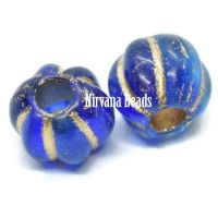 8mm Large Hole Melon Sapphire and Sky Blue with Gold Wash