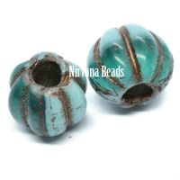 8mm Large Hole Melon Medium Sky Blue and Blue Green with Bronze Wash