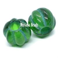 8mm Large Hole Melon Green with Green Wash