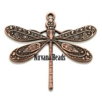 21x25mm Charm Dragonfly Copper Plated Brass