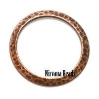 33mm Hammered Ring Copper Plated Brass