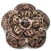 8x50mm Filigree Flower Copper Plated Brass