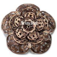 8x50mm Filigree Flower Copper Plated Brass
