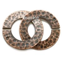 22mm Hammered Ring Clasp Copper Plated Brass