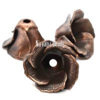 11x19mm Flower Cap Copper Plated Brass