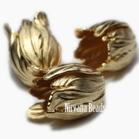 17x20mm Tulip Matte Gold Plated Brass