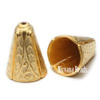 10x14mm Decorative Cone Matte Gold Plated Brass