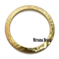 33mm Hammered Ring Matte Gold Plated Brass