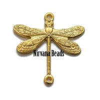 17x18mm Charm Dragonfly Matte Gold Plated Brass