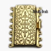 26x36mm Seven Strand Box Clasp Matte Gold Plated Brass