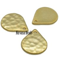 10x13mm Hammered Drop Gold Plated Brass