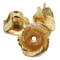 11x19mm Flower Cap Gold Plated Brass