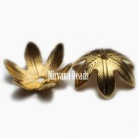 10mm Flower Cap Matte Gold Plated Brass