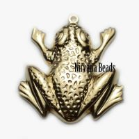 23x26mm Frog Charm Matte Gold Plated Brass