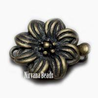 13x18mm Flower Clasp Oxidized Brass