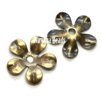 8mm Flower Cap Oxidized Brass