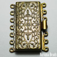 26x36mm Seven Strand Box Clasp Oxidized Brass