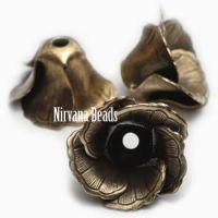 11x18mm Flower Cap Oxidized Brass